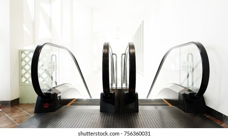 escalator shopping mall. Escalator in metro. Moving up and down staircase. escalator. electric escalator.