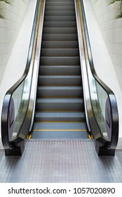 Escalator Stair Way Up/Down in Department Store, Perspective View of Architecture Modern Interior Staircase Escalators and Facade Building at Metro Train Stations. Access Gate Indoor Stair Way