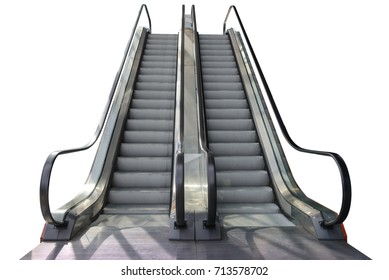 escalator step outside shopping mall isolated on white background with clipping path