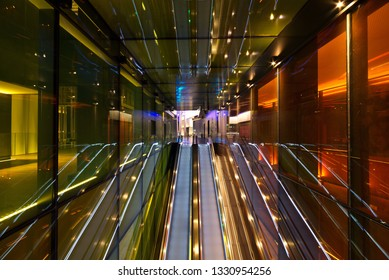 Escalator view at Dubai Residences area at night