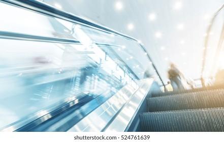 escalator view at a traid fair