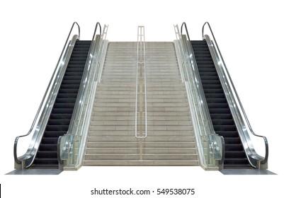 Escalator,isolated on white background