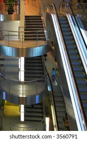 Escalators and stairs ,Domodedovo airport, Moscow, Russia