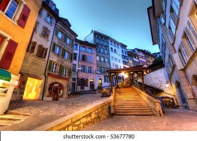 Escaliers du Marche, Lausanne, Switzerland (HDR image)