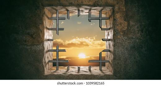 Escape, freedom concept. Prison, jail window with cut bars, sunset, sunrise view. 3d illustration