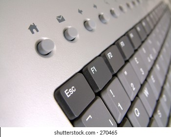 Escape Home - Pc keyboard concentrating on Escape key and internet home and email shortcut keys.
