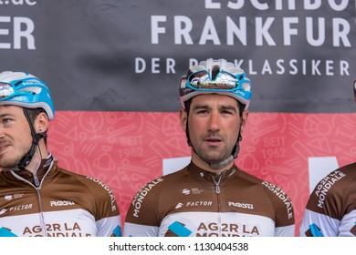 ESCHBORN, GERMANY - MAY 1st 2018: Julien Duval (AG2R La Mondiale) at Eschborn-Frankfurt cycling race