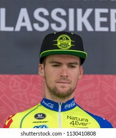 ESCHBORN, GERMANY - MAY 1st 2018: Julien Mortier (WB Aqua Protect Veranclassic) at Eschborn-Frankfurt cycling race