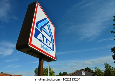 Eschede Lower Saxony / Germany - August 7, 2016: Sign at the entrance to an ALDI Nord store in Eschede, Germany  -  ALDI is the common brand of two leading global supermarket chains