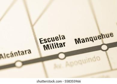 Escuela Militar Station. Santiago Metro map.
