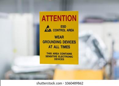 ESD control area label.