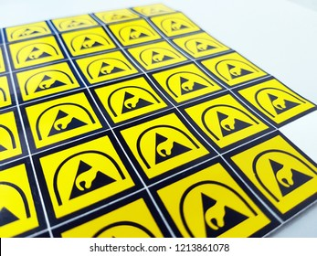 ESD symbol label without texture  for Electrostatic Sensitive Devices (ESD) in electronic industrial.