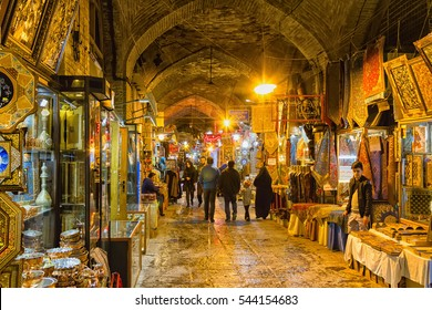 ESFAHAN, IRAN - NOVEMBER 15, 2016: Traditional iranian bazaar in Isfahan at Imam Square. It is a historical market and one of the oldest and largest bazaars of the Middle East.