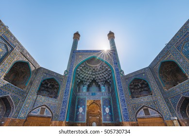 Esfahan, Iran - Oct 23, 2016 : The magnificent entrance of Masjed-e Shah or the Shah Mosque. This place is standing in south side of Naghsh-e Jahan Square.
