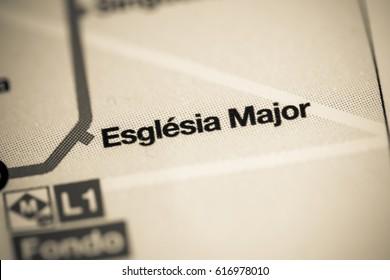 Esglesia Major Station. Barcelona Metro map.