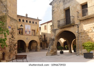 Esglesia square in Horta de Sant Joan,Terra Alta, Tarragona province, Catalonia,Spain