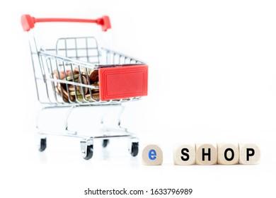 e-shop. Shopping cart with white Background. Optional Background