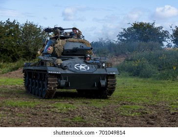ESHOTT, NORTHUMBERLAND, UK. AUGUST 19. 2017. Public display by the Tank Crew and American M24 Chaffee Light Tank . August 19, 2017.  Eshott, Northumberland, England, UK.