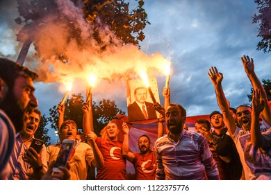 esident of Turkey and the AKP government supporters, the leader Recep Tayyip Erdogan, won the presidential elections 24 JUNE 2018 istanbul at turkey