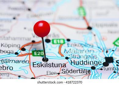 Eskilstuna pinned on a map of Sweden