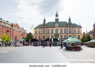 Eskilstuna, Sweden - Aug 24, 2018: Representatives of different parties inform voters before the election in Sweden in September 2018 at the square in Eskilstuna.