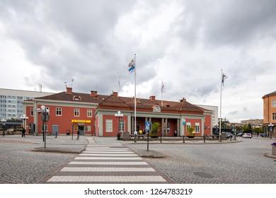 Eskilstuna, Sweden - Aug 24, 2018: Pedestrian crossing to Eskilstuna central station.
