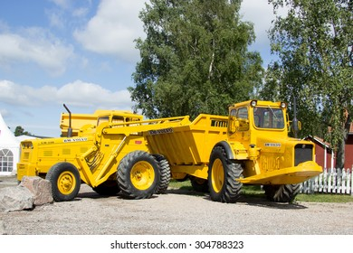 Eskilstuna, Sweden, June 25, 2015: First articulated dump truck Volvo - Gravel Charlie, at the site Volvo customer center June 25, Eskilstuna, Sweden