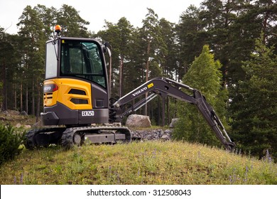 Eskilstuna, Sweden, June 25, 2015: Mini excavator Volvo ECR25D, Volvo days 2015, Eskilstuna