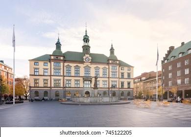 Eskilstuna, Sweden - Oct 20, 2017: Eskilstuna city hall at Fristadstorget square late afternoon just before sunset.