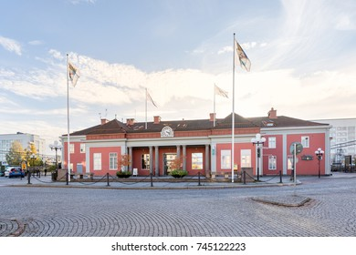 Eskilstuna, Sweden - Oct 20, 2017: Eskilstuna train station with daily connections out in Sweden.