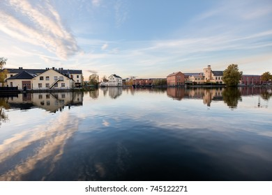Eskilstuna, Sweden - Oct 20, 2017: City Museum, Munktell Museum and Clarion Hotel Eskilstuna by sunset time with nice calm reflection in the water.