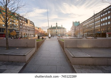 Eskilstuna, Sweden - Oct 20, 2017: Fristadstorget, a city square in Eskilstuna with the city hall in the background late afternoon.