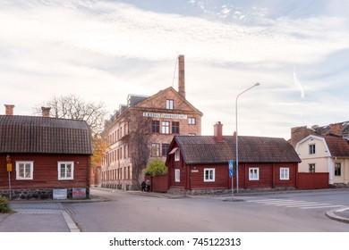Eskilstuna, Sweden - Oct 20, 2017: Old architecture in central Eskilstuna an autumn day.