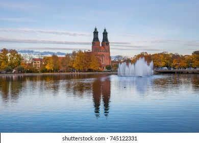 Eskilstuna, Sweden - Oct 20, 2017: Cloisters Church (Klosters kyrka) i Eskilstuna a late autumn afternoon.