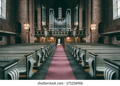 ESKILSTUNA, SWEDEN - SEPTEMBER 16: Details and architecture in swedish Cathedral. September 16, 2008. Eskilstuna, Sweden.