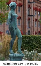ESKILSTUNA / SWEDEN - SEPTEMBER 2014: Modern statue in the centre of Eskilstuna town, Sweden