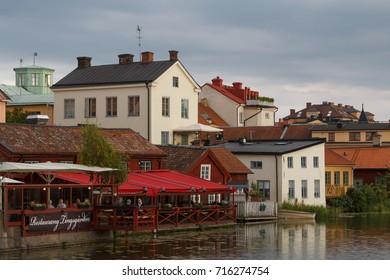 ESKILSTUNA / SWEDEN - SEPTEMBER 2014: Restaurant in the old part of Eskilstuna town, Sweden