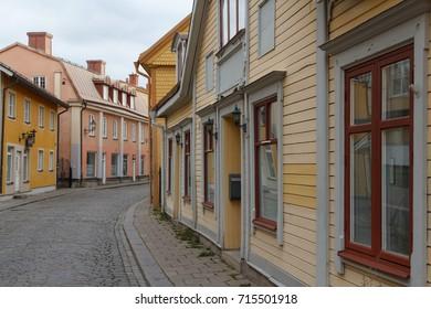 ESKILSTUNA / SWEDEN - SEPTEMBER 2014: Street in the old part of Eskilstuna town, Sweden
