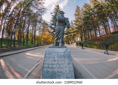 Eskisehir, TURKEY - April 2018: Eskisehir Anadolu University Yunus Emre Campus parks and statue