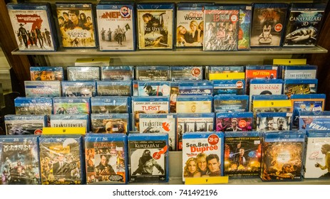 Eskisehir, Turkey - August 11, 2017: Classic and new Hollywood production movies on Blu-Ray for sale in entertainment center in Eskisehir, Turkey
