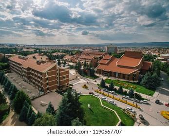 Eskisehir, TURKEY - August 2018: Eskisehir Anadolu University Yunus Emre Campus Parks, Buildings and roads aerial view