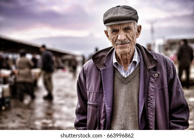 ESKISEHIR, TURKEY, FEBRUARY 04 - 2017: Old Anatolian People ( Turkish old man ) portrait on a local bazaar area