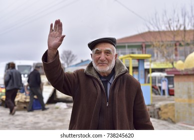 Eskisehir, TURKEY - January 21, 2017: The Old Turkish Rural Man is Saying Hello with His Old Fashioned Clothes, Who Lives in a Small Town of Turkey.