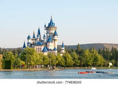 ESKISEHIR, TURKEY, JULY 14, 2017: Fairy Tale Castle and small lake from Sazova Park, Eskisehir, Turkey.