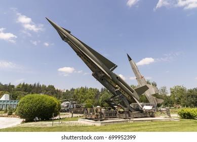 ESKISEHIR, TURKEY, JULY 15, 2017: MIM-14 Nike Hercules, a surface-to-air missile on display at Eskisehir Aviation Park (Eskisehir Havacilik Parki), Eskisehir, Turkey.