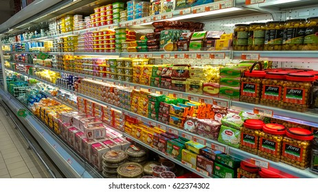 Eskisehir, Turkey - March 15, 2017: Food supplies for sale on supermarket shelves