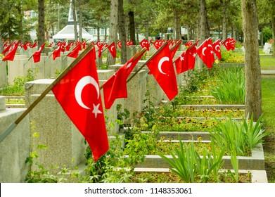 Eskisehir, Turkey - May 16, 2017:  Visnelik Air Force Martyrs' Cemetery with Turkish flags in Eskisehir
