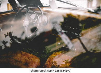 Eskisehir, Turkey - May, 2017: old jaguar 3.8 litre car interior and exterior
