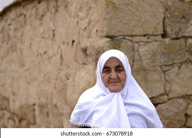 ESKISEHIR, TURKEY - NOVEMBER 15, 2014: Old Anatolian People ( Turkish old woman ) portrait