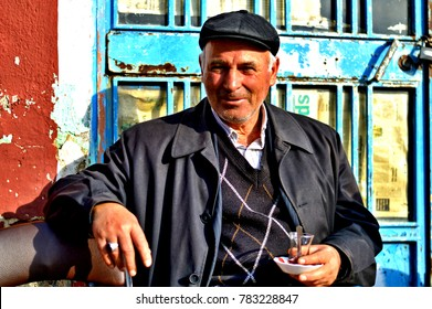 """ESKISEHIR, TURKEY - NOVEMBER 15, 2014: Old Anatolian People ( Turkish old man Who lives in a small town of Turkey ) portrait"""